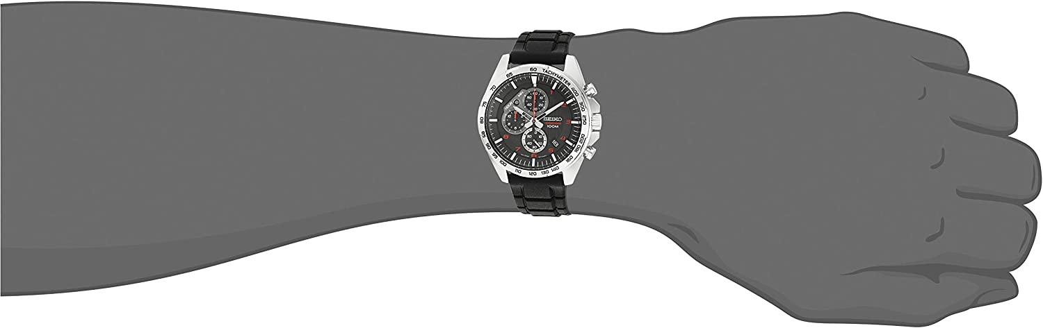 Seiko Mens Stainless Steel Japanese-Quartz Dress Watch with Silicone Strap, Black, 20 (Model: SSB325)
