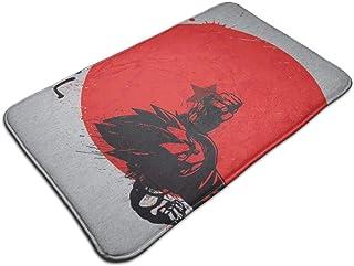 HUTTGIGH - Felpudo antideslizante para puerta de baño, cocina, diseño de dragón, color rojo