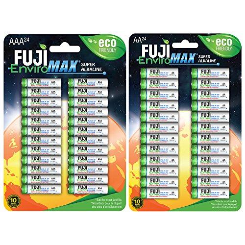 Fuji EnviroMAX Super Alkaline AA + AAA Set - Eco Friendly Batteries (Pack of 48 (24AA + 24AAA))