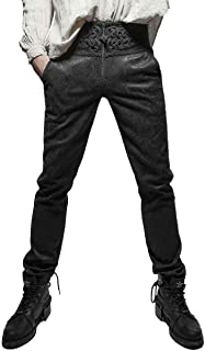 Mens Tailored Trousers Pants Black Damask Gothic Steampunk VTG Aristocrat