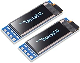 Dorhea 2pcs 0.91'' I2C OLED Display Module IIC 0.91 inch I2C SSD1306 LED DC Display Module Blue I2C LCD 128x32 Screen Driver for Arduino 3.3V~5V