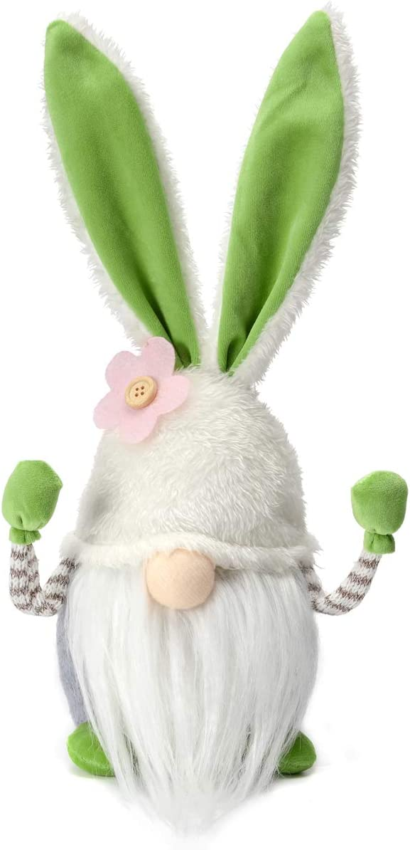 Funoasis Easter Bunny Gnome Spring Gnomes Easter Holiday Home Decoration Gnome Plush Handmade Rabbit Gifts Swedish Tomte Elf ( Green Bunny, 13 Inches)