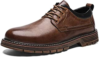 ZHANGLEI Business Oxford for Men Formal Shoes Lace up Microfiber Leather Stitching Solid Color Wear-Resistant Lug Sole Round Toe (Color : Brown, Size : 8 UK)