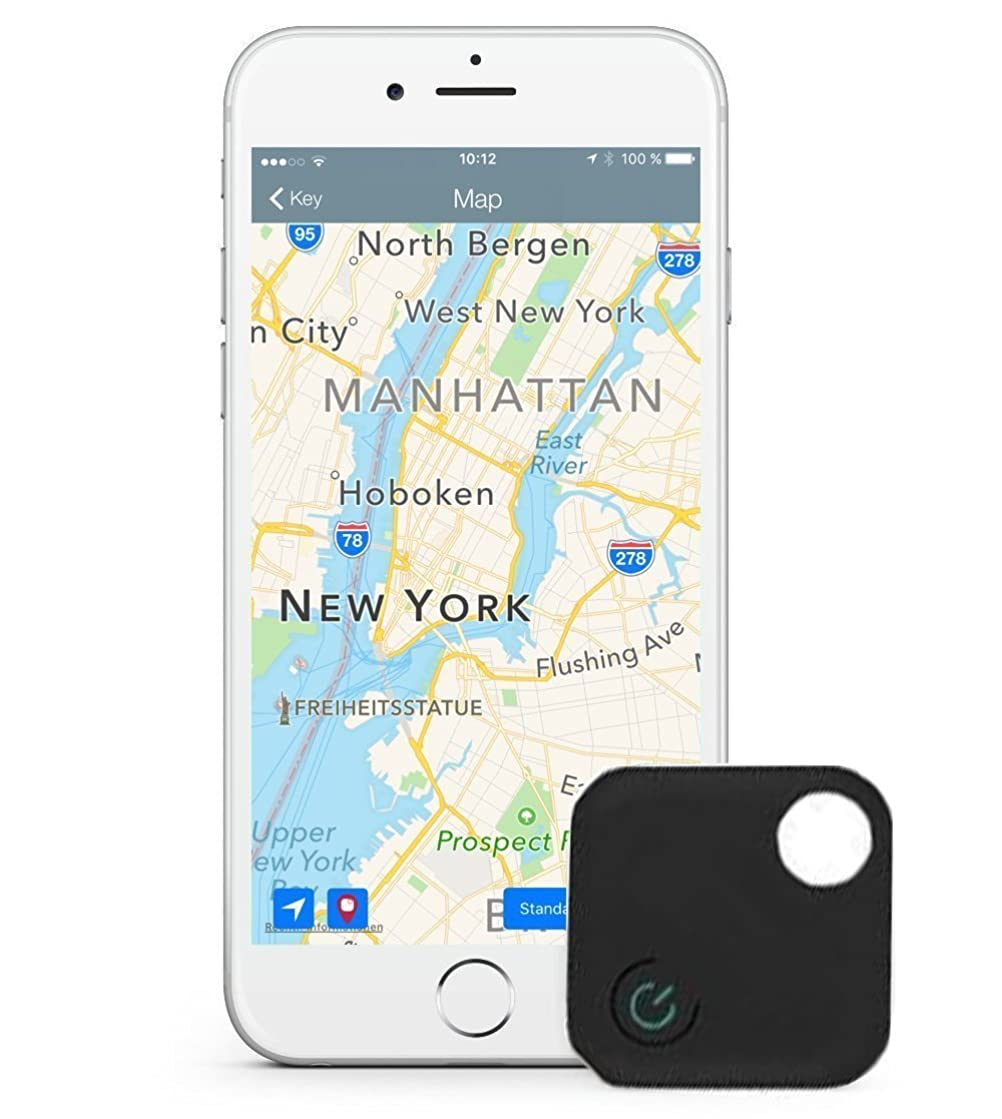 Komire Mini Smart Key Finder Phone Finder, Wireless Bluetooth Tracker Anti-lost alarm, Kid Wallet Bag Pet GPS Locator with App for Android IOS, Supporting Remote Self-Timer and Record (Black)