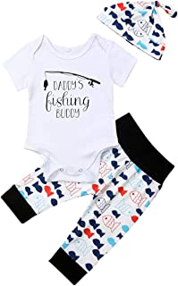 Muasaaluxi Newborn Infant Baby Girls Boys Daddy`s Fishing Buddy Romper Bodysuit Fish Pants Hat 3Pcs Summer Outfit