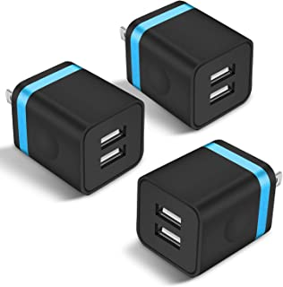 STELECH USB Wall Charger, 3-Pack 2.1A Dual Port USB Power Adapter Wall Charger Plug Charging Block Cube Compatible with Phone Xs Max/Xs/XR/X/8/7/6 Plus/5S/4S, Samsung, LG, Kindle, Android Phone -Black