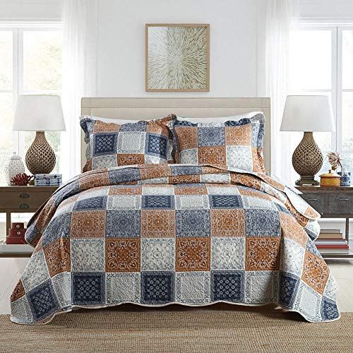 NEWLAKE Quilt Bedspread Sets-Color Block Pattern Reversible Coverlet Set,Queen Size