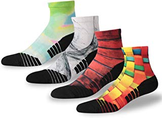 NIcool Men's Running Printing Anti-Blister Moisture Wicking Sports Athletic Ankle Socks