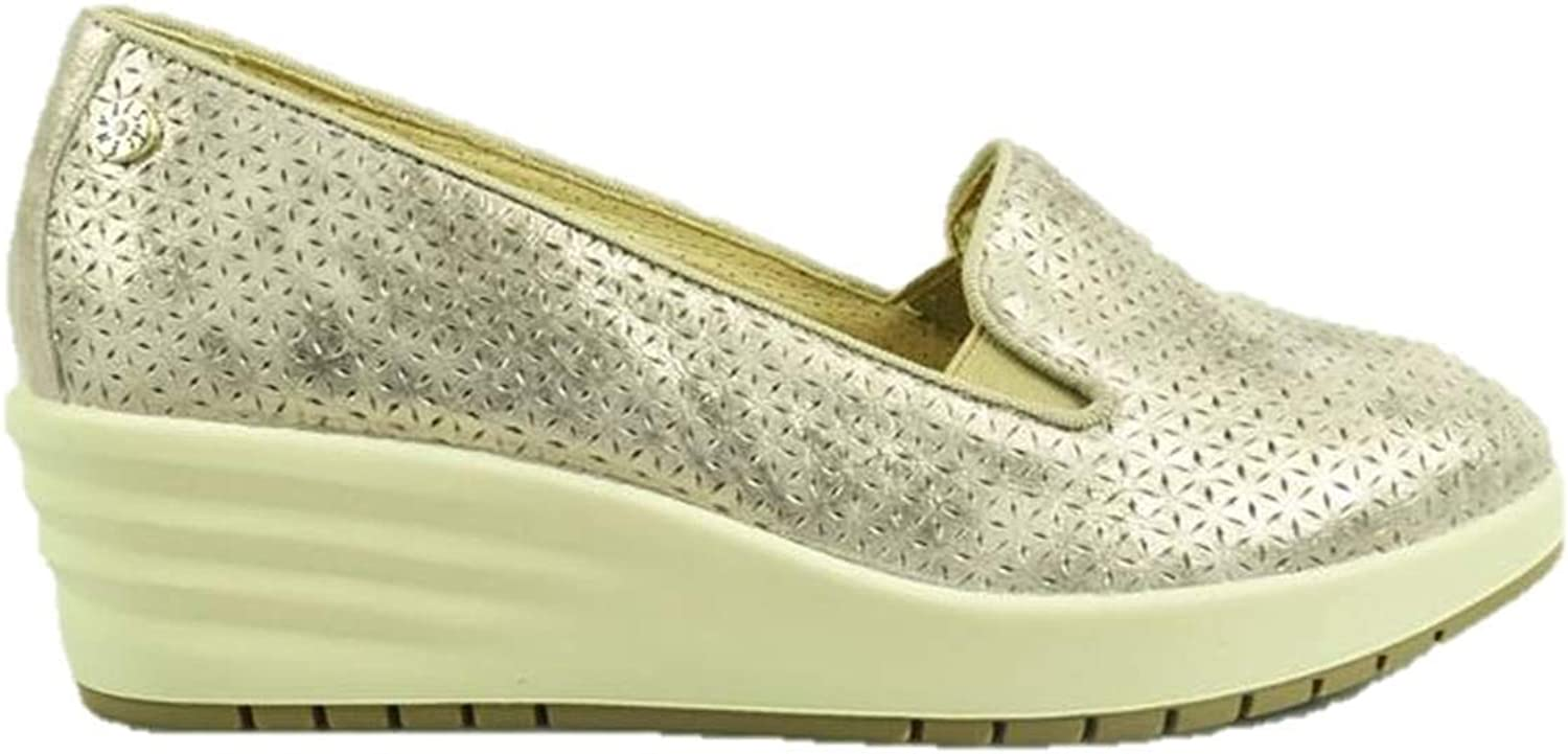 ENVAL SOFT 3257577 Wedge Loafers Slip on Sneakers Womens Taupe Wedges Made in
