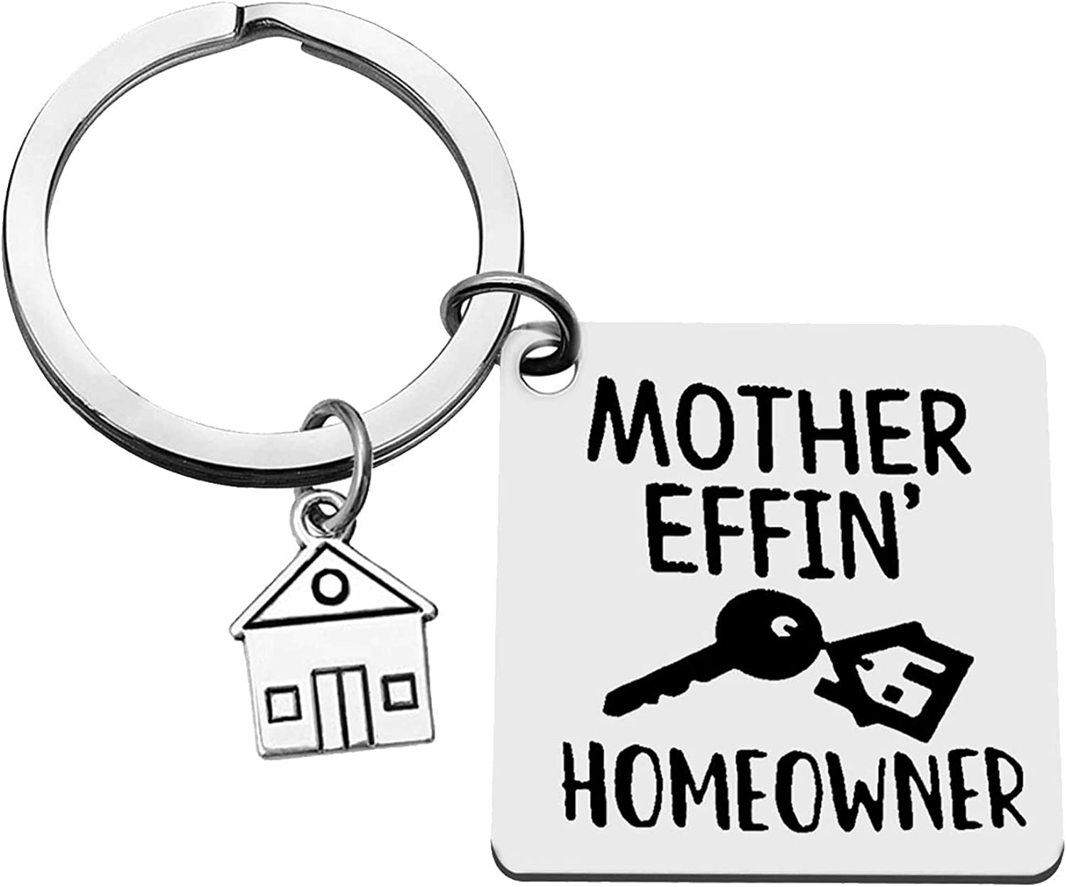 for New Home Keychain Christmas Keychain Frist Home Keychain New Homeowner Jewelry Housewarming Gifts Funny House Keyring Realtor Closing Gifts Moving in Key Chain for New Home Owners Jewelry