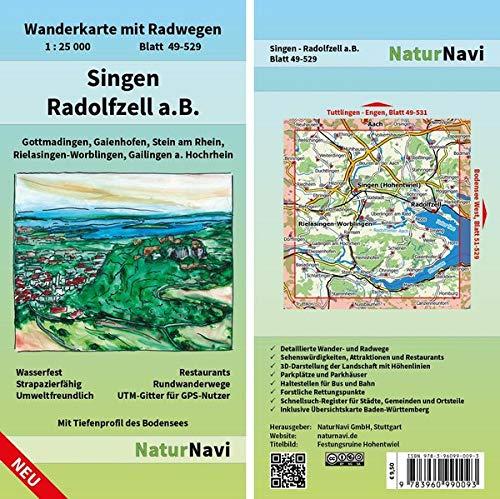 Singen - Radolfzell a.B.: Wanderkarte mit Radwegen, Blatt 49-529, 1 : 25 000, Gottmadingen, Gaienhofen, Stein am Rhein, Rielasingen-Worblingen, ... (NaturNavi Wanderkarte mit Radwegen 1:25 000)
