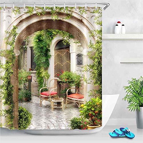 TTYAC Apertura de Ventana 3D Paisaje Ventana Paisaje impresión Cortina de Ducha Moho Cortina Lavable decoración de baño con Cortina de Gancho