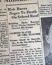 MARYVILLE MO Missouri Raymond Gunn NEGRO Schoolhouse Lynching 1931 Old Newspaper FITCHBURG SENTINEL, Massachusetts, January 12, 1931