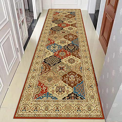 Traditional Vintage Patchwork Hallway Runner Rugs, Non Slip Floor Mats Washable Durable Carpet - 60cm/80cm/100cm/120cm/140cm Wide Area Rug (Size : 60×150cm(1.9×4.9ft))