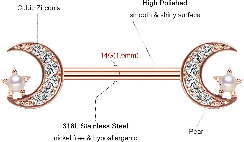 Moon Star Barbell Nipple Ring 316L Stainless Steel Pearl Body Piercing Jewelry Cubic Zircon Inlay Nipple Piercing Retainer for Women Men Nippleshield Piercing BodyPiercing
