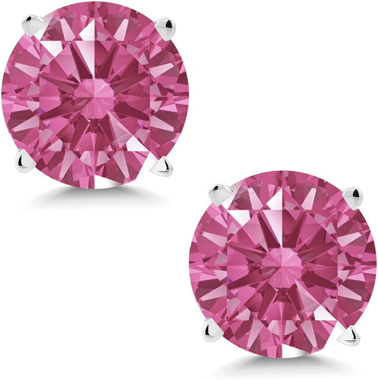1.68 Ct Red 14K White gold Earrings Made With Swarovski Zirconia