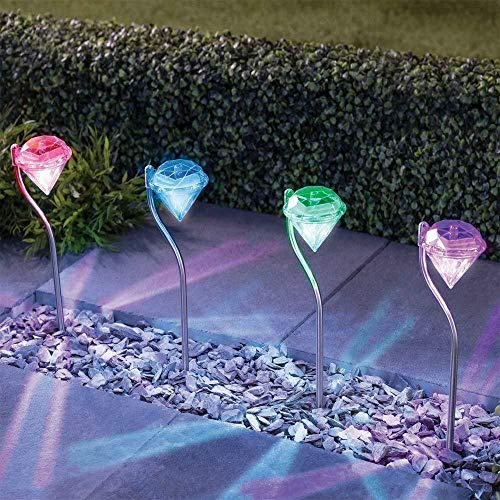 Solar Garden Lights, EpicGadget Outdoor Decorations Color Changing LED Diamond Solar Light Stainless Steel Stake Pathway Lights for Landscape Walkway Yard Path Deck Lawn Patio Driveway (8 Pieces)