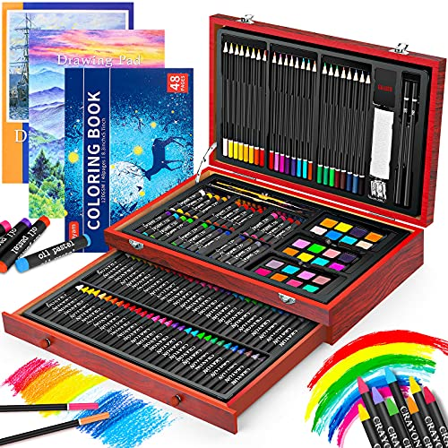 Art Supplies, iBayam 150-Pack Deluxe Wooden Art Set Crafts Drawing Painting Kit with 1 Coloring Book, 2 Sketch Pads, Creative Gift Box for Adults Artist Beginners Kids Girls Boys 5 6 7 8 9 10 (Cherry)