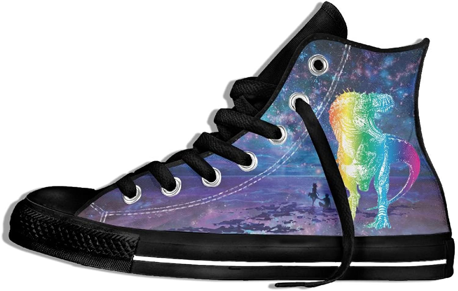 Rainbow Dinosaur T Rex High Top Classic Casual Canvas Fashion shoes Sneakers For Women & Men