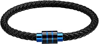 Holizaly Leather Bracelet with Magnetic Clasp Cowhide Multi-Layer Braided Leather Mens Bracelet