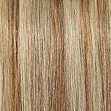 18'(45cm) SEGO Extensiones de Clip de Pelo Natural Rizado [Doble Cortina] GRUESA #12/613 Castaño Dorado/Blanqueador Rubio 8 Piezas Onduladas Remy Human Hair Balayage (140g)