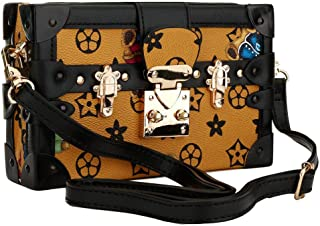 Clutch Box Purses for Women - Bear-printed Vintage Leather Hard Box Handbag with Removable Strap