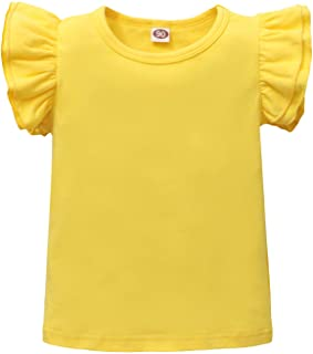 Laerion Toddler Baby Girls Ruffle T-Shirt Top Blouse Solid Color Basic Tees Plain Shirt