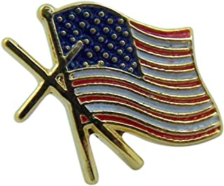 Gold Tone and Enameled American Flag Cross Believer Lapel Pin, 1/2 Inch