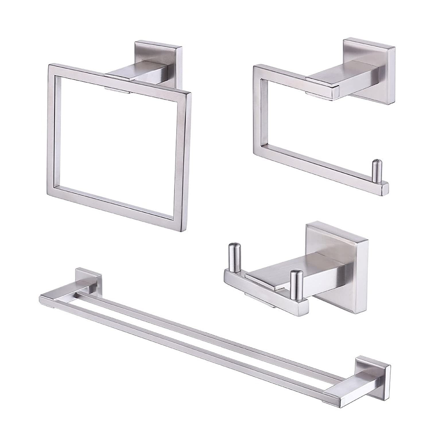 KES 4-Piece Bathroom Accessory Set, Includes Double Towel Bar, Toilet Paper Holder, Towel Ring, Double Robe Hook - SUS 304 Stainless Steel Brushed Finish Wall Mount, LA242-43