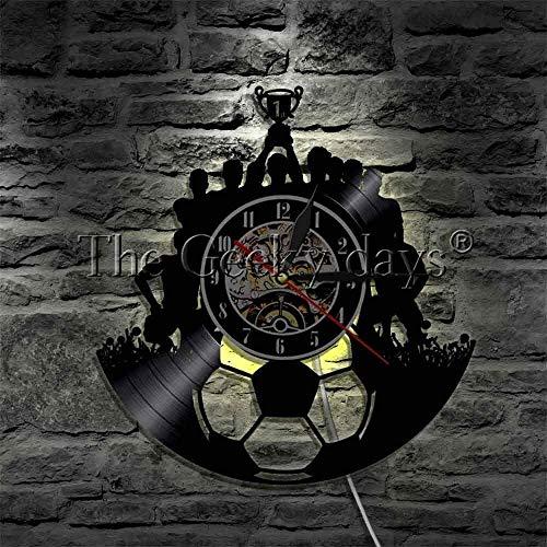 GODYS Reloj de Pared de Vinilo 1 Pieza Reloj de Pared con Registro de fútbol lámpara de Pared del Equipo de fútbol campeón del Equipo de fútbol iluminación Ambiental Triumph Souvenir-Wth_Led