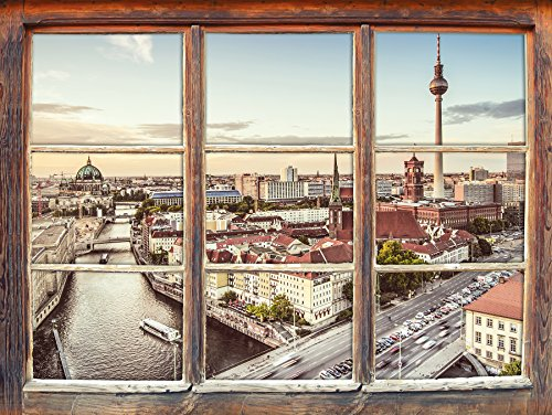 Stil.Zeit Möbel Skyline von Berlin Fenster 3D-Wandsticker Format: 92x62cm Wanddekoration 3D-Wandaufkleber Wandtattoo