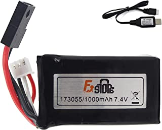 Fistone Rechargeable 7.4V 1000mAh Lithium Battery Pack for RC Car High Speed Racing Vehicle RTR Monster Truck with Charging Cable XH 2P Plug