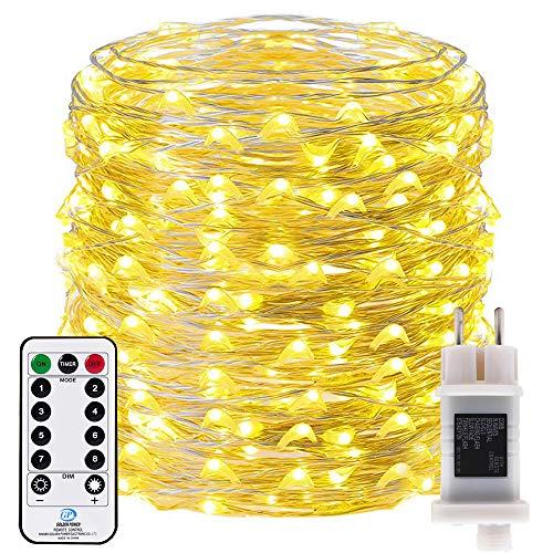 RcStarry innen/Außen 500 LEDs 50 Meter silberdraht aufblitzende Lichterkette IP68 Wasserdicht 8 Modi mit Fernbedienung und Timer DIY Dekoration für Weihnachten, Garten, Hochzeit - Warmweiß
