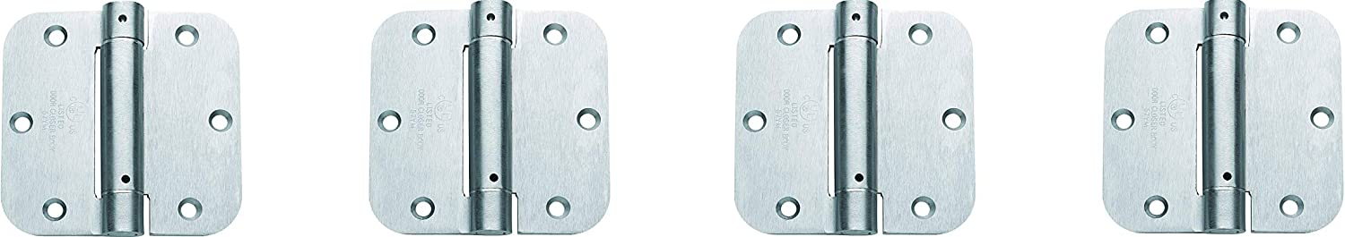 Set of 2 Global Door Controls CPS3535-5//8-26D-M 3.5 in Brushed Chrome Steel Spring Hinge with 5//8 in x 3.5 in Radius