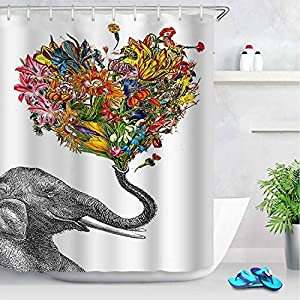 ENJOHOS Fabric Elephant Shower Curtains Bohemian Print Design Waterproof Decorative Bathroom Curtain for Indoor Outdoor,71 x 71 Inch (Elephant 3)