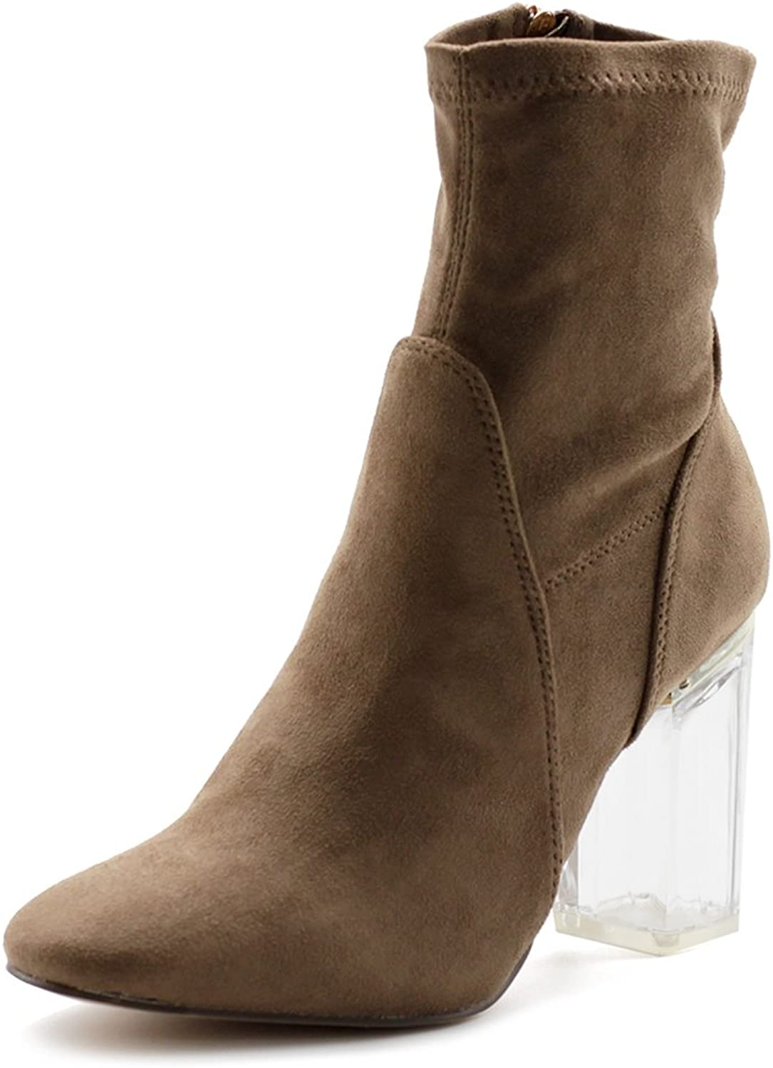 Ollio Women's shoes Stetch Faux Suede Side Zip Up Clear High Heel Ankle Boots