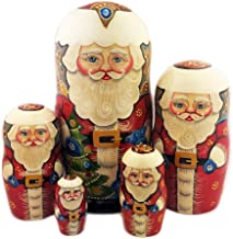 Alexandra Int`l Russian Santa Claus Nesting Doll 5 pcs Hand Carved Painted 6 3/4 Inch Collectible