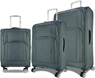 Eaglemate 3pc Luggage Set Suitcase Trolley Carry On Soft Lightweight Luggage Set (Grey)