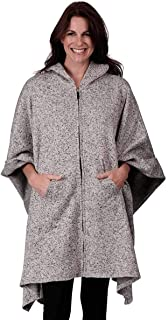 Le Moda Full Zip Hooded Poncho with Kangaroo Pockets | Winter Collection | Variety of Prints | One Size Fits All