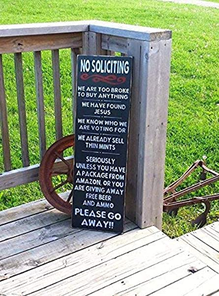 Weewen No Soliciting Front Door Sign Go Away Sign Too Broke To Buy Front Porch Sign No Solicitation Solicitors Wood Signs Wall Art Farmhouse Style Hand Painted Plaque