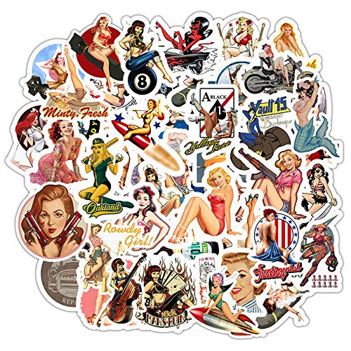 Pin-up Sexy Adult Retro Girl Stickers, No Repeat Vinyl Decal Stikers for Laptop Water Bottle Guitar Skateboard Motorcycle Car Bike Luggage Trolley Case Stickers with Waterproof PVC(49 pcs)