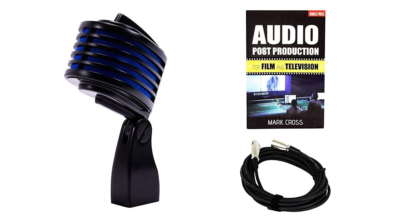 Heil Sound The Fin Black Microphone (Blue LED) Bundle with Audio Production for Film and TV & Cable (3 Items)