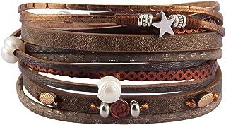 Leather Cuff Bracelets Women Handmade Multi-Layer Pearl Braided Bangle Boho Rhinestone Wrap Bracelet with Magnetic Clasp