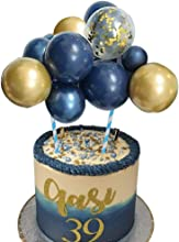 Wocuz Navy Gold Balloon Cloud Cake Topper 10pcs 5 in Navy Blue&Gold Confetti&Gold Metallic Chrome Mini Balloon Garland Cake Topper for Cake Decoration Boys Crown Theme Birthday Baby Shower Party Decorations