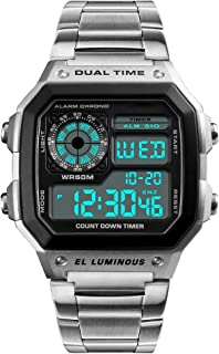 Mens Digital Watch Stainless Steel Square Dial Quartz Wristwatches Waterproof Dual Time Alarm Stopwatch Business Watches S...