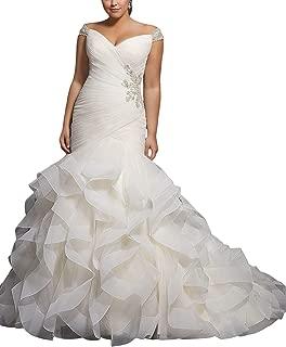 Women's Cap Sleeves Beaded Pleats Mermaid Wedding Dresses Organza Bridal Gown Plus Size