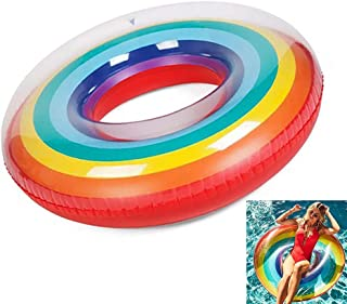 HAJUGADOR Pool Inflatables Large Size Swimming Ring 47'' Colorful Rainbow, Thickened Swimming Ring for Adults