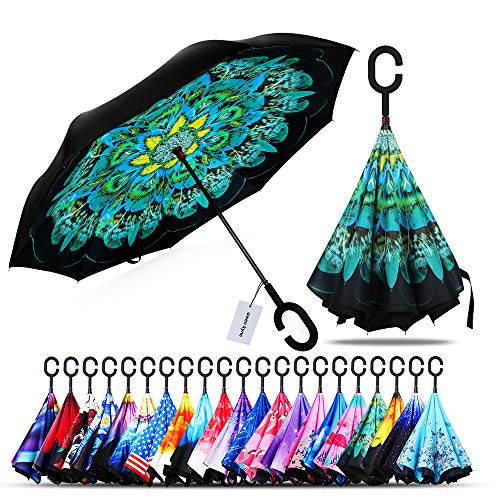 Owen Kyne Windproof Double Layer Folding Inverted Umbrella, Self Stand Upside-Down Rain Protection Car Reverse Umbrellas with C-Shaped Handle (New Peacock)