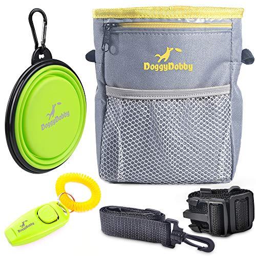 DoggyDobby Bolsa de Entrenamiento para Perros con Correa de Cintura Extra Larga con dispensador de Bolsa de Agua Plegable y Cuenco de Viaje para Mascotas y clicker para Mascotas