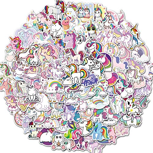 Labeol Unicorn Stickers 100 PCS Waterproof Vinyl Kids Stickers Cute Brand Trendy Stickers Pack for Adults Visco Stickers for Laptop Skateboard Phone Case Car Suitcase Bicycle Party